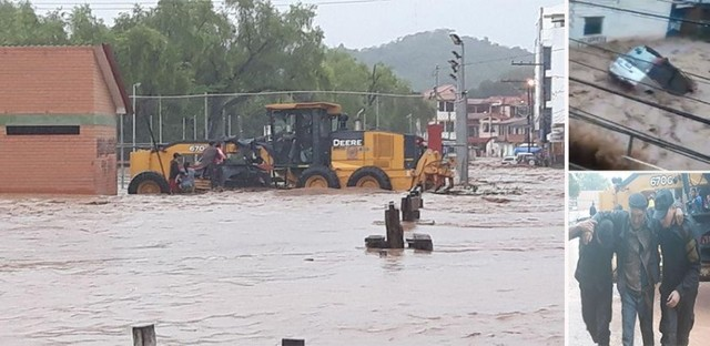 Monteagudo sufre el embate del río Sauces, que devora vehículos y anega viviendas