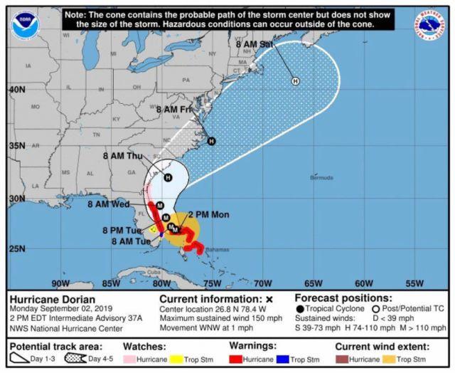 Huracán Dorian arrasa en Bahamas y confirman la muerte de cinco personas