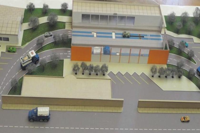PROYECTO. Maqueta del Centro de Revisión Técnica Vehicular que se encuentra en la fase final de construcción despúes de