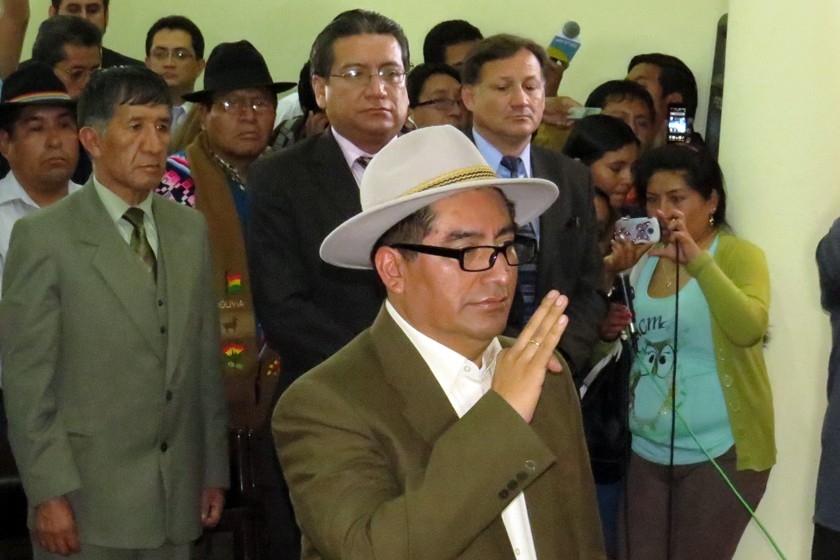 Freddy Sanabria durante su posesión. Foto: Enrique Quintanilla