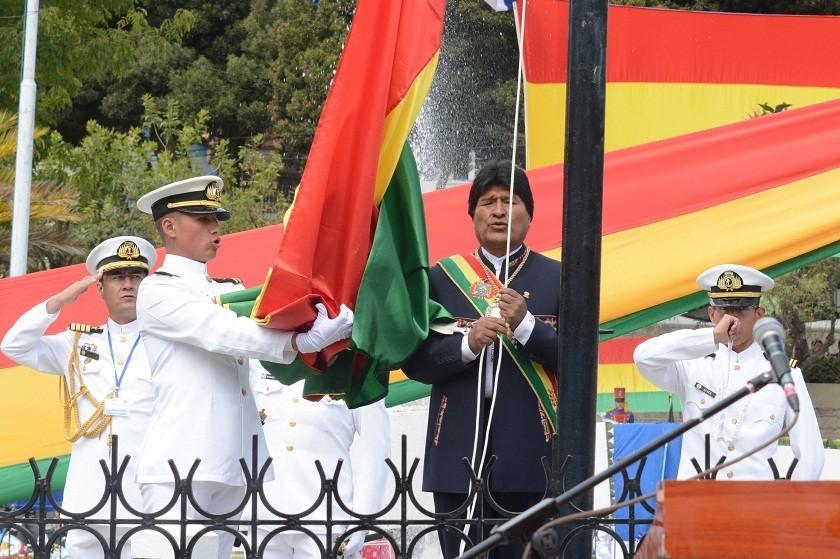 Evo Morales durante los actos conmemorativos a la defensa de Calama. Foto: ABI