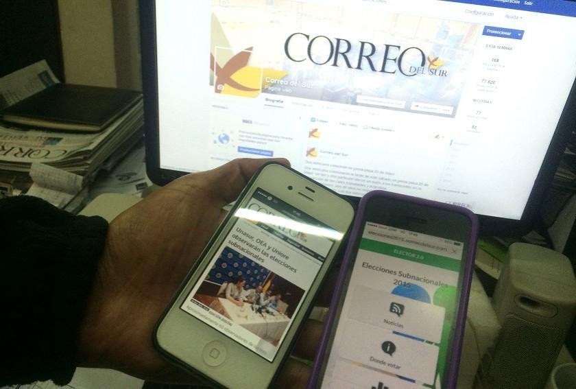 Ahora puedes seguir minuto a minuto las elecciones subnacionales a través de los celulares. Foto: CORREO DEL SUR
