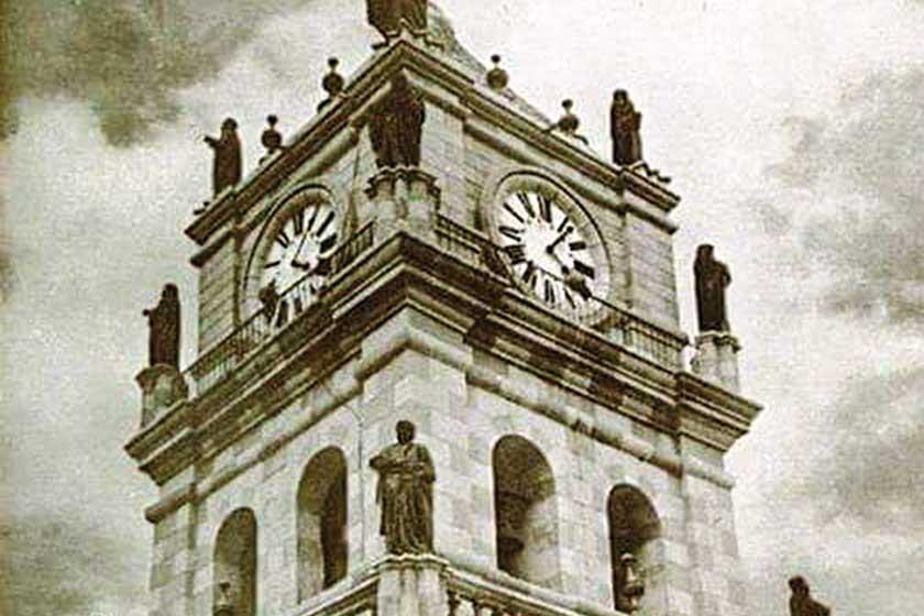 La torre de la Catedral Metropolitana, joya icónica de Sucre, era originalmente de piedra vista.