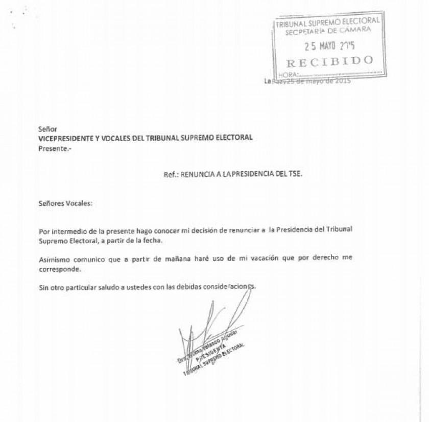 La carta de renuncia de Velasco a presidencia del TSE. Foto: Internet