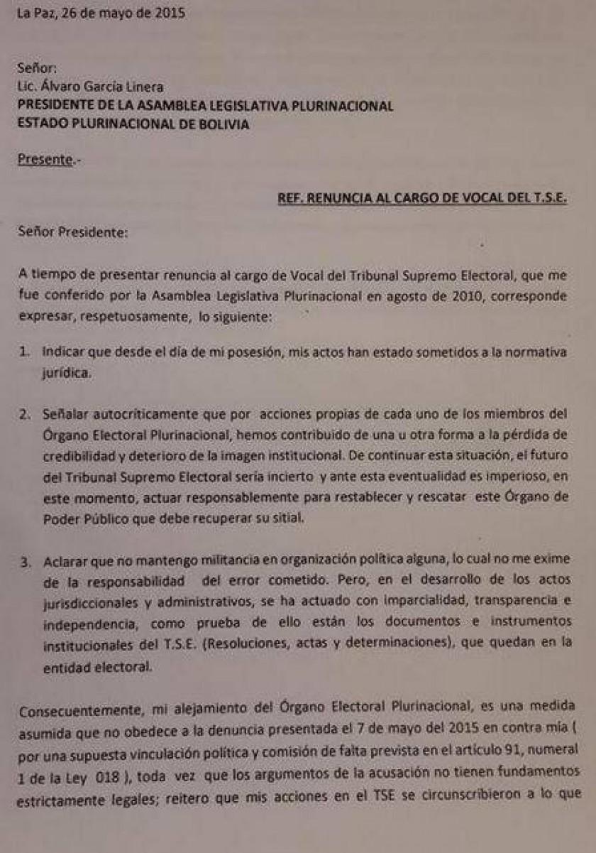 La carta de renuncia de Ramiro Paredes. Gentileza