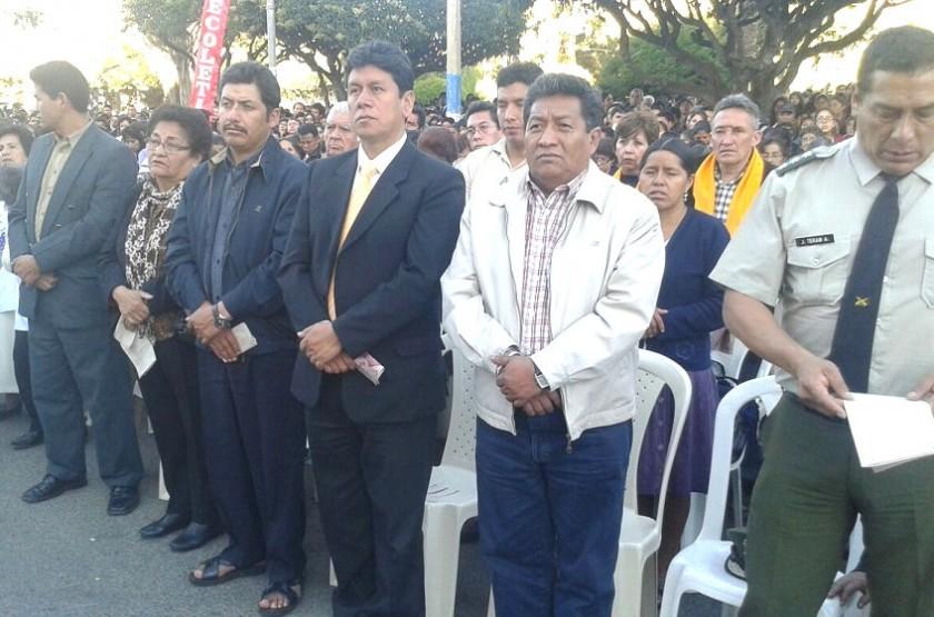 Autoridades de Sucre y Chuquisaca participaron de la misa de Corpus Christi. Foto: CORREO DEL SUR