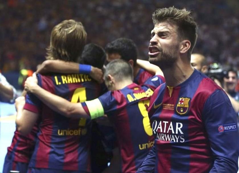 La celebración de los jugadores del Barcelona. Foto: EFE