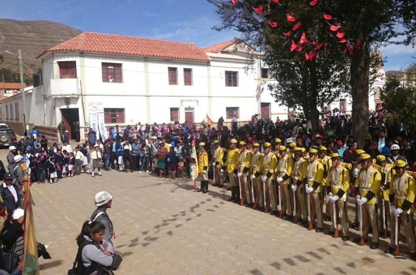 El Regimiento Sucre II de Infantería está presente en Tarabuco. Foto: Gentileza