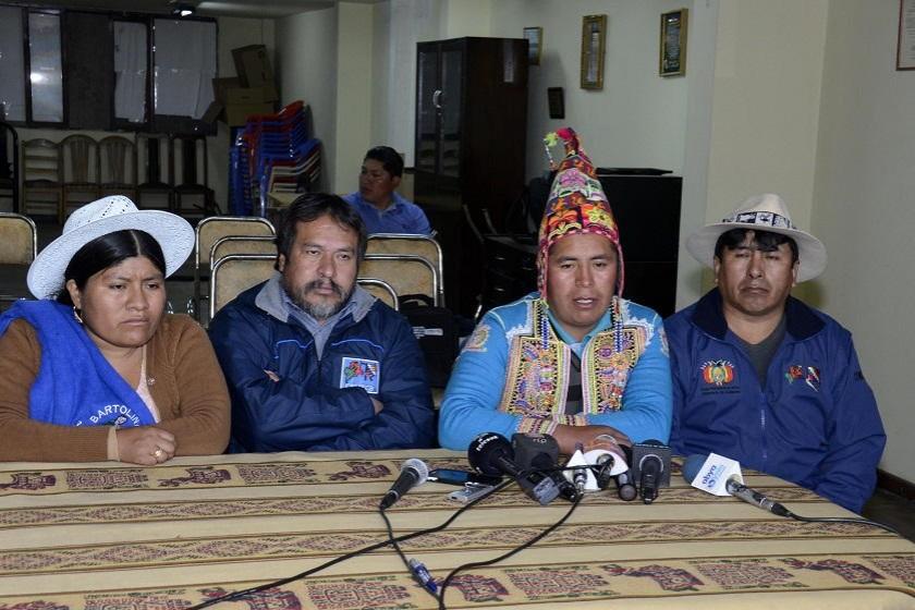 Los campesinos de la CSUTCB advierten a Comcipo. Foto: ABI