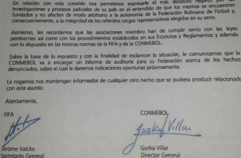 Esta es la carta enviada por personeros de la FIFA y Conmebol. Gentileza: La Razón