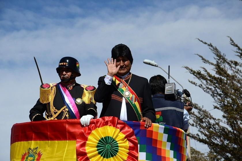 Evo Morales durante la Parada Militar en Sucre. Foto: ABI