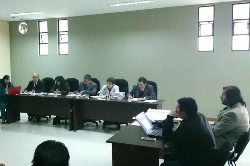 La audiencia realizada esta mañana en el TDJ de Chuquisaca. Foto: CORREO DEL SUR