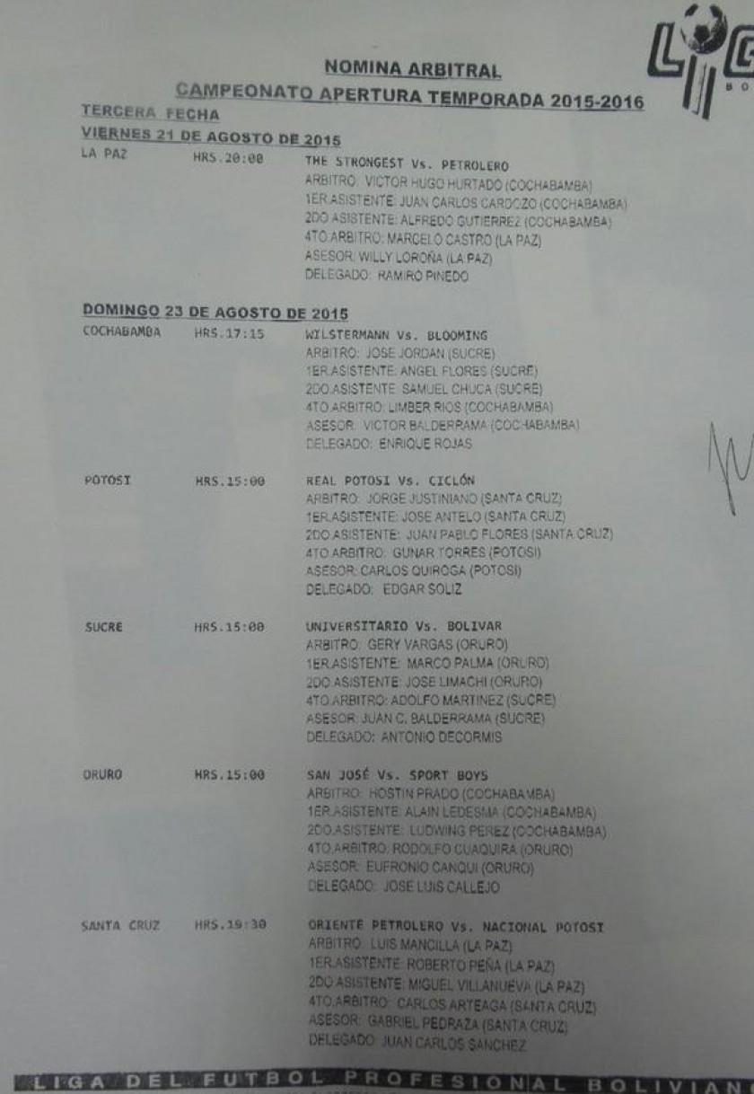 La lista de árbitros que dirigirán la tercera fecha del torneo Apertura de la Liga. Foto: Gentileza