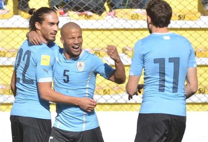 La celebración de los jugadores del cuadro uruguayo. Foto: EFE