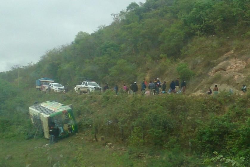 La flota se accidentó a pocos kilómetros de la población de Monteagudo. Foto: Radio Suprema
