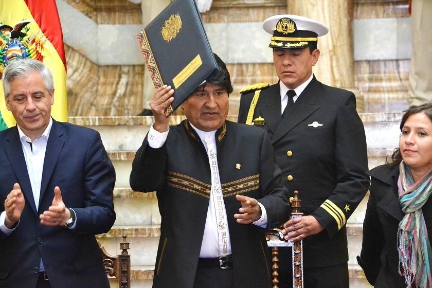 El acto de promulgación de la ley esta mañana en La Paz. Foto: ABI