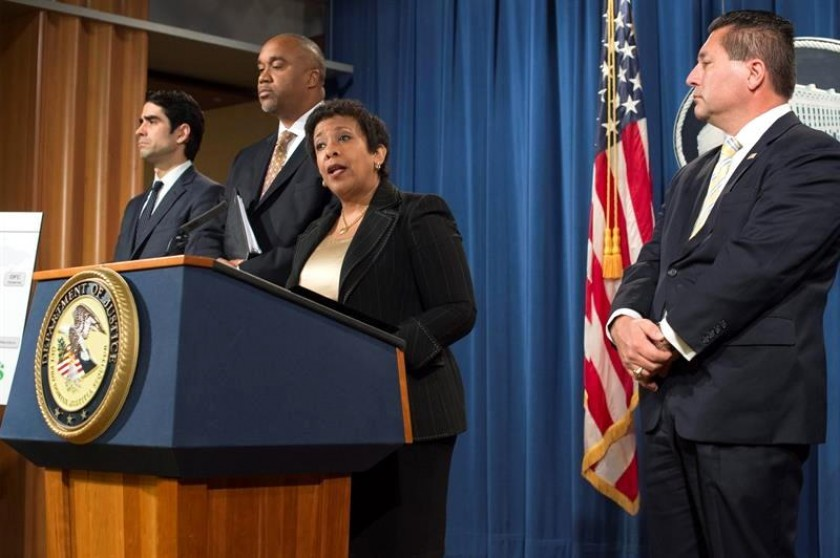 Loretta Lynch durante la conferencia de prensa de esta tarde en EEUU. Foto: EFE