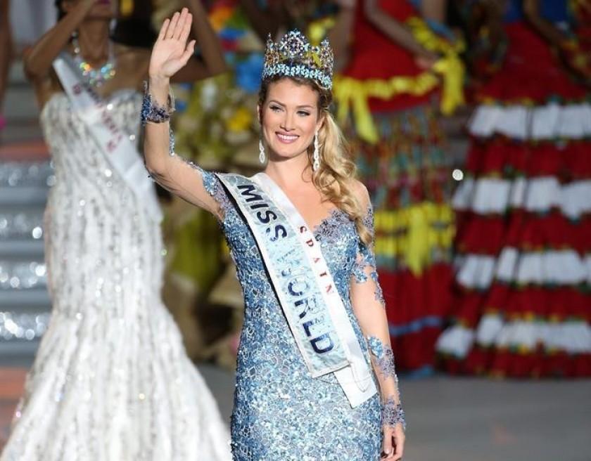 La española Mireia Lalaguna durante la ceremonia de Miss Mundo. Foto: EFE