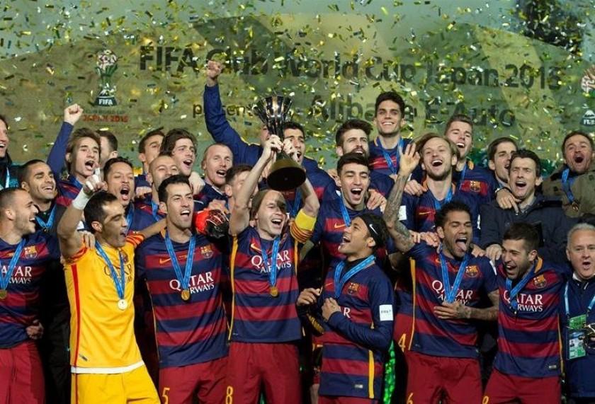 La celebración de los integrantes del Barcelona. Foto: EFE