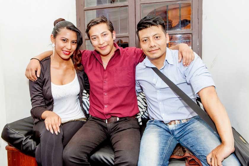 Omayra Calani, Antonio Terceros y Abraham Andrade.
