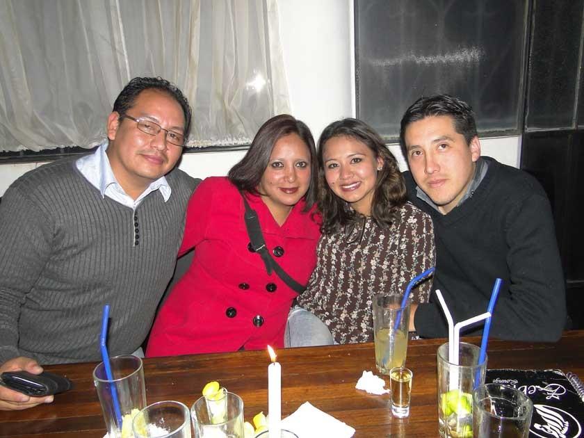 Ariel Chumacero, Vanessa Cervantes, Mildred Zambrana y Esteban López.