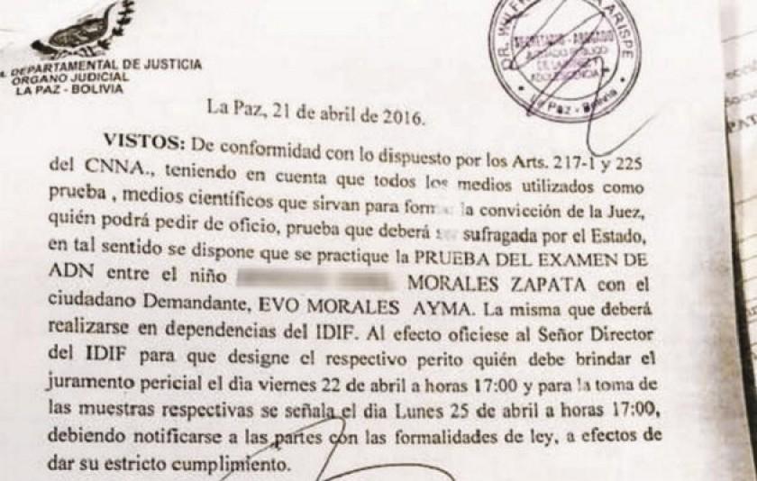 La jueza Jacqueline Rada convoca a Evo Morales para realizarse prueba de ADN. Foto:: Página Siete