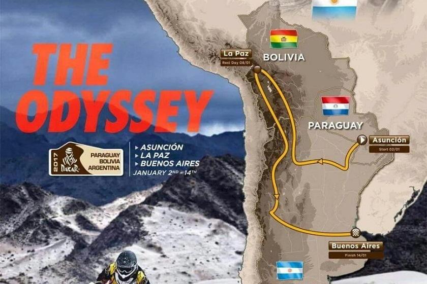 Este es el nuevo mapa del circuito inicial para el Dakar 2017. Foto: Internet