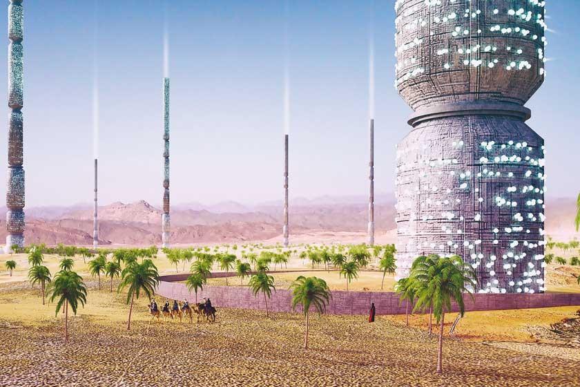 """Situado al norte de Tinduf, Argelia, el proyecto """"Valley of the Giants"""" consiste en una serie de torres donde plantas"""