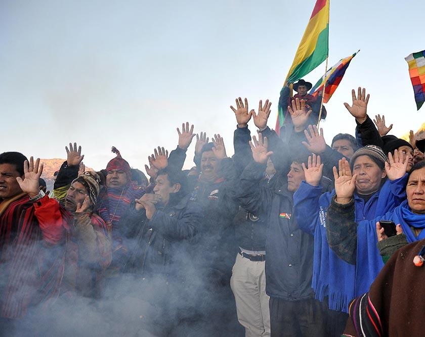 El acto realizado en Quila Quila, en Sucre. FOTO: APG