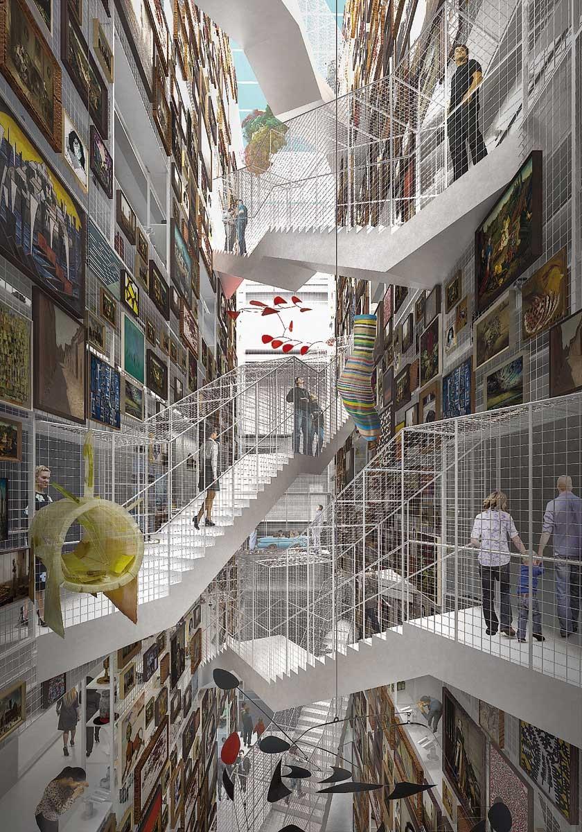 """Una imagen casi fantasmagórica del """"Collection Building"""", un depósito de obras de arte abierto al público"""