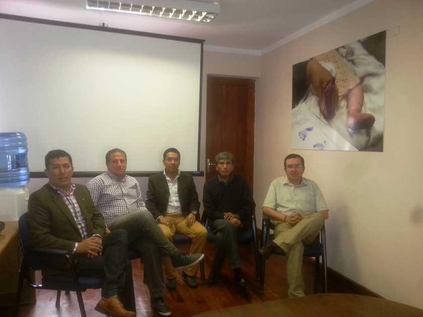 De izquierda a derecha, Juan Pablo Álvarez (coordinador del G-DRU), Gonzalo Vega (PMA), Antonio Canaviri (UNICEF)...