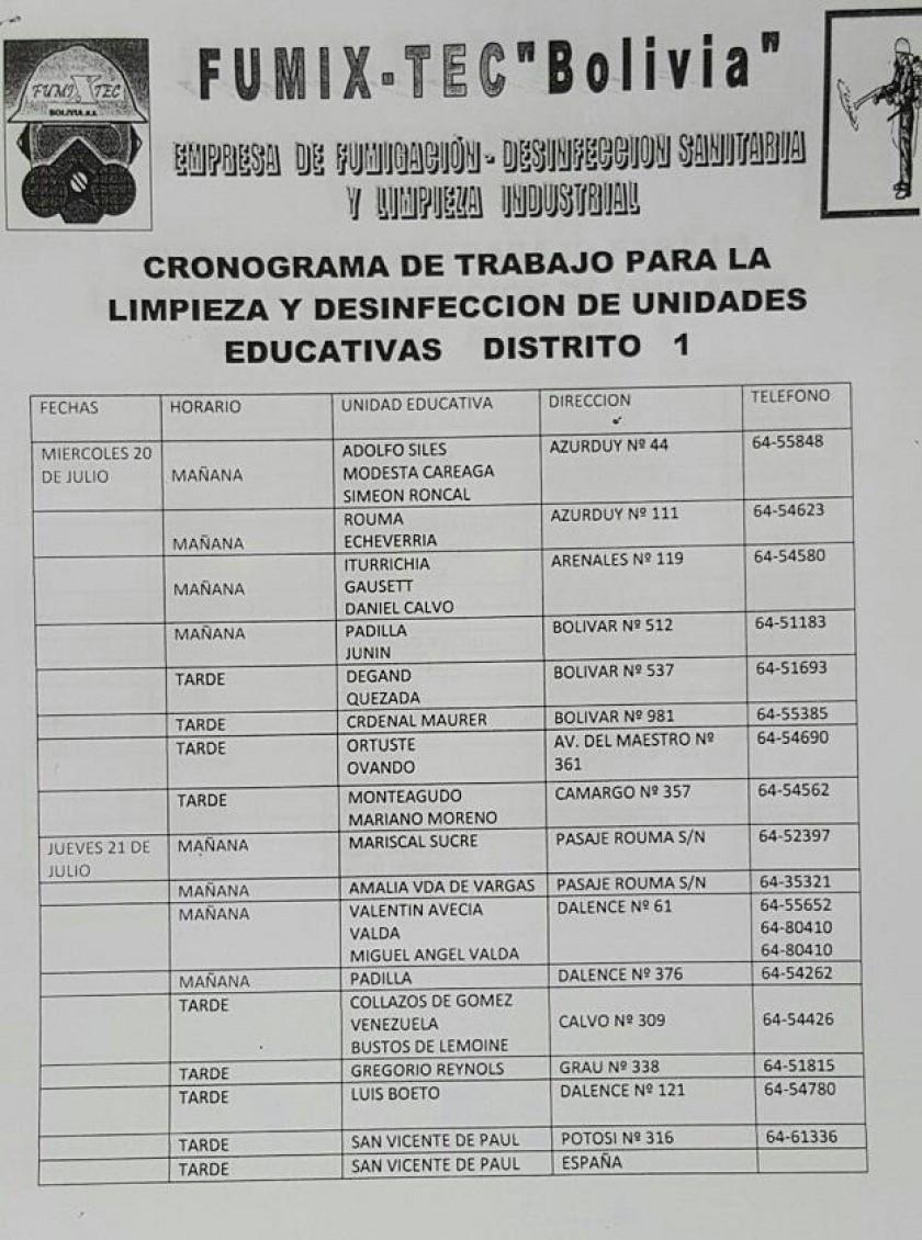El cronograma de fumigación en las escuelas y colegios de Sucre.