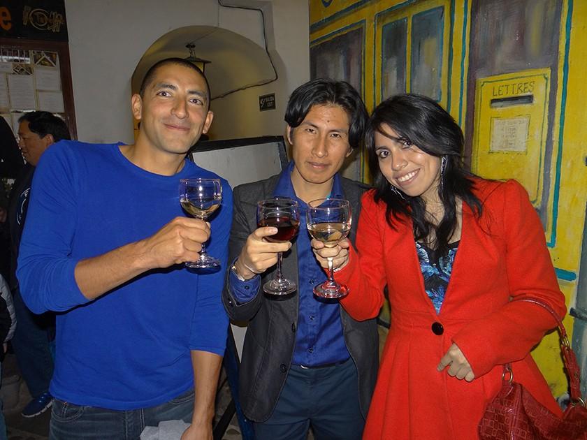Fabricio Leroux, Edson Nina y Litzi Arciénega.