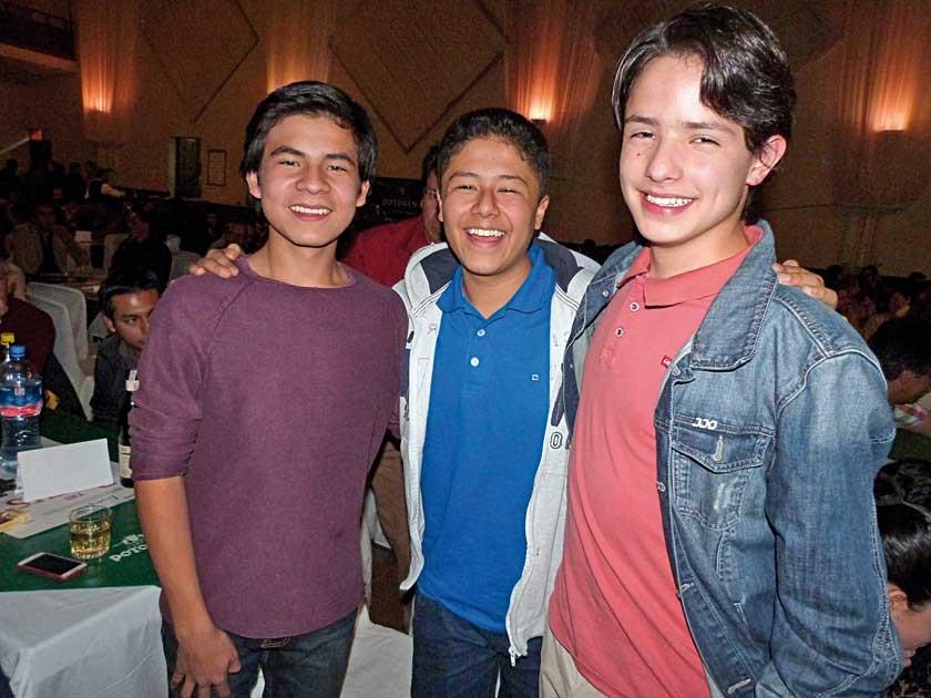 Sebastián Dávalos, Mateo Castillo y Pablo Dorado.