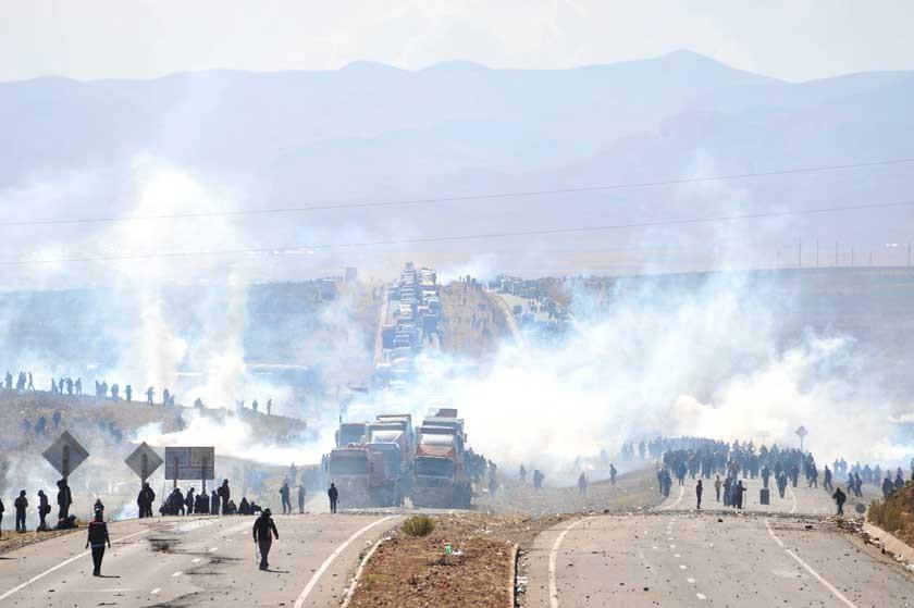 Intento. El desbloqueo en Panduro, el punto de mayor confrontación en el conflicto.