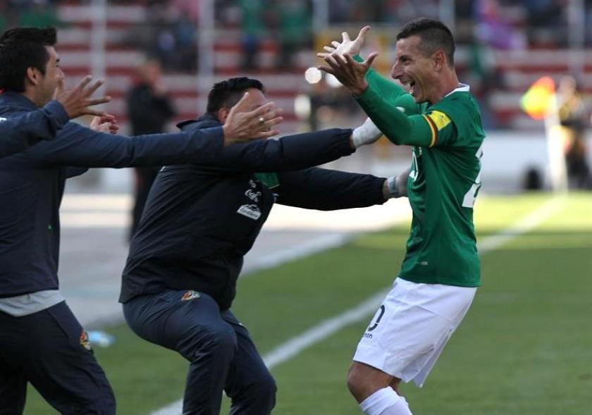 La celebración de Escobar tras anotar el gol. Foto: EFE