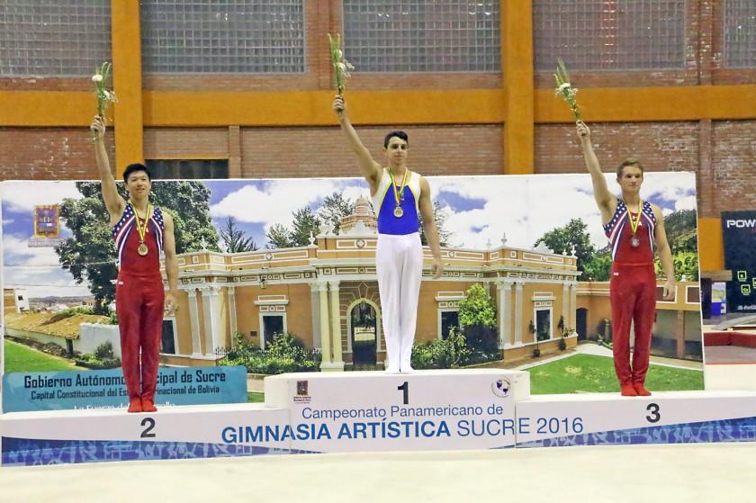 El podio de la categoría individual juvenil, ganada por el brasileño Bernardo Actos