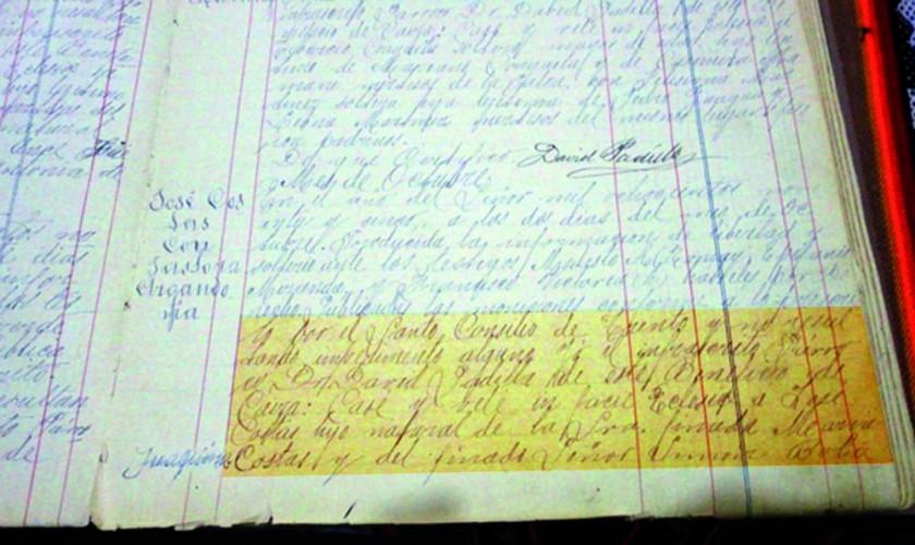PRUEBA. El documento se encuentra en el archivo parroquial de Caiza y es una fuente primaria.