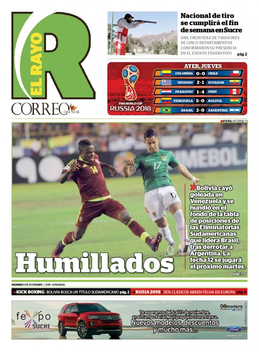 Venezuela golea 5-0 a Bolivia en una jornada negra  para Argentina