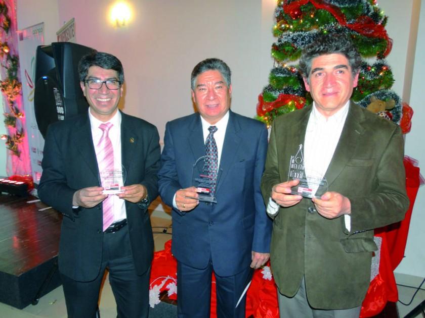 Peter Campos, Facultad de Economía; Juan Simón Torres, IMET, y Domingo Izquierdo, Escuela Taller Sucre.