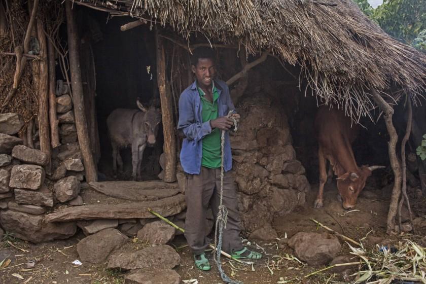 Tadesse, el marido de 22 años de Abaynesh, posa en la puerta de uno de los establos donde guardan los animales en su...