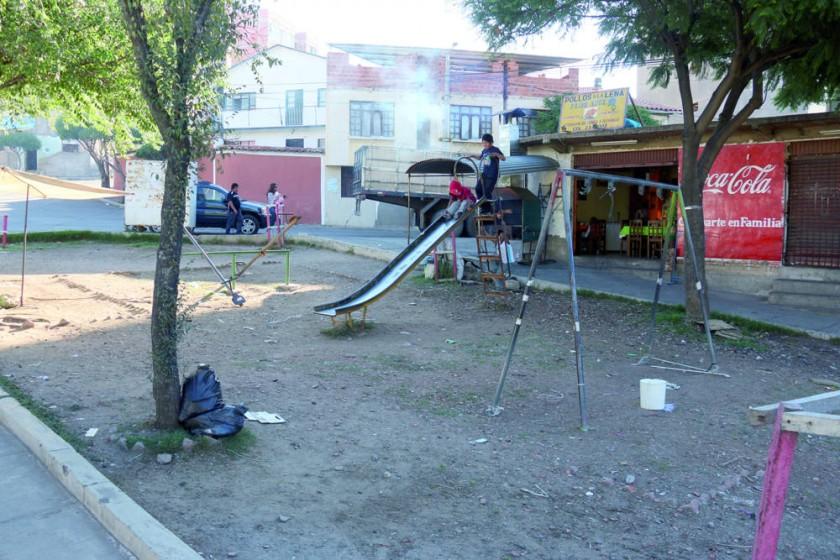 TOPOGRAFÍA. Los espacios verdes muestran bastante descuido al ingreso al barrio.