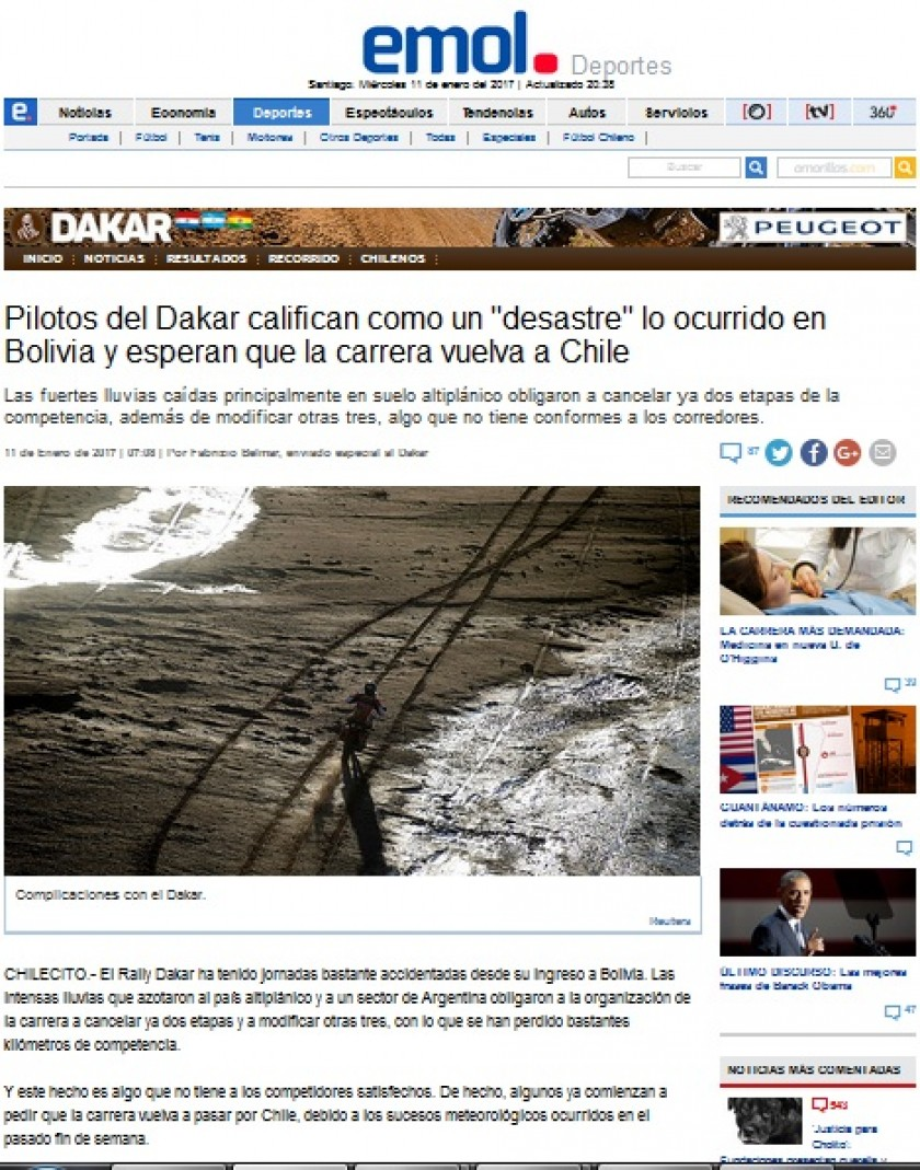 La publicación del diario chileno Emol sobre el Dakar. Foto: Captura de pantalla