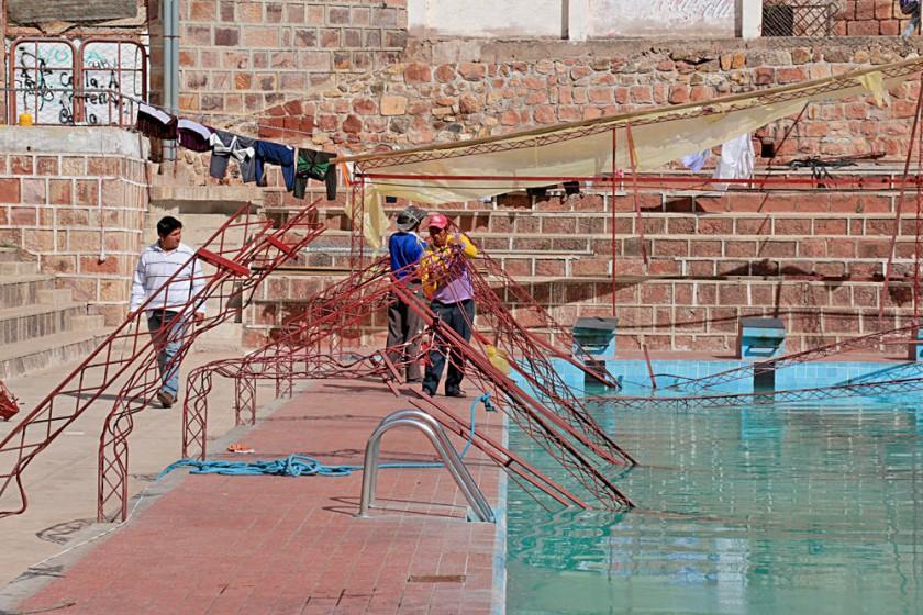 La piscina del parque Bolívar fue el escenario más afectado por la tormenta de lluvia del pasado viernes