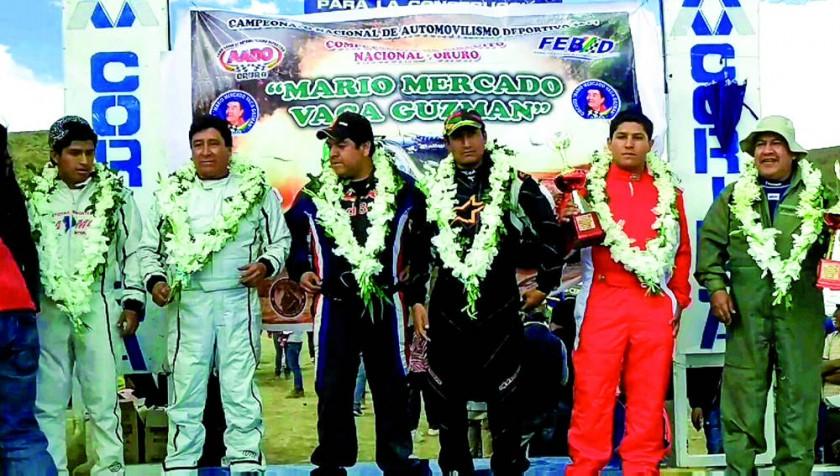 El podio de la categoría R2B Libre, ganada por José Luis Pérez (3i).