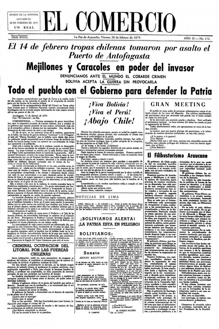 BÉLICO. El inicio de la Guerra del Pacífico fue relatado por medios de comunicación que en ese entonces se difundían...