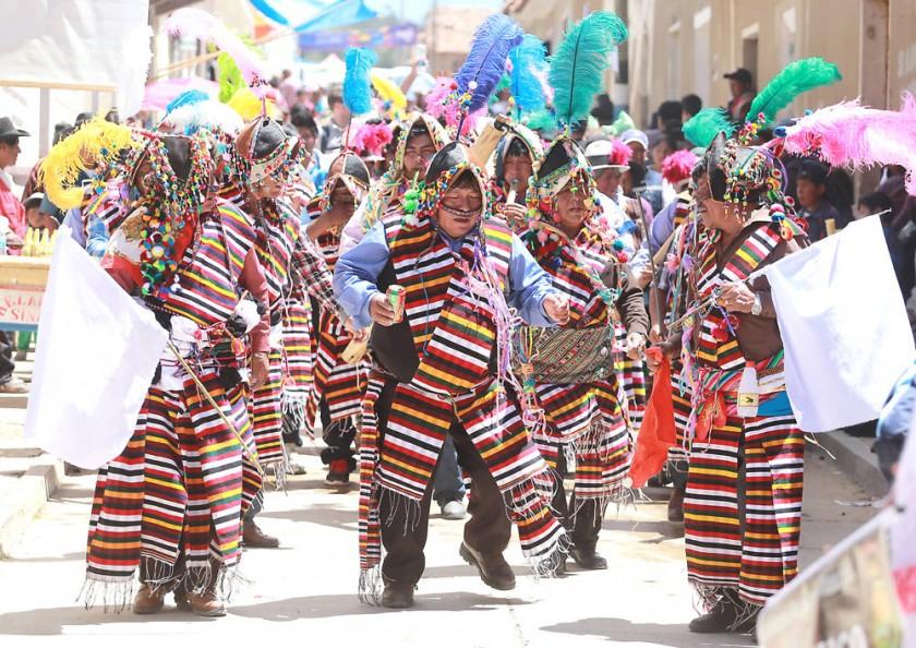 Los comunarios de Vertuyo trajeron desde Oruro una tradicional pinquillada.