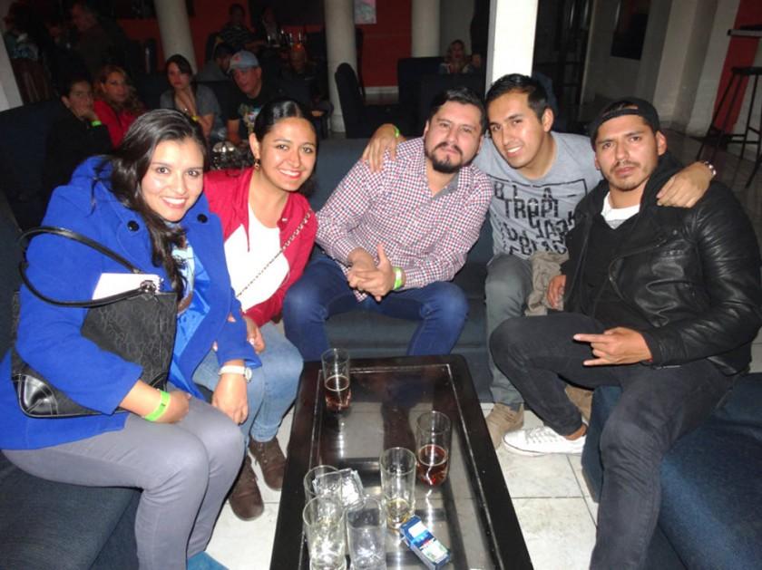 """Rocío Soto, Violeta Barrios, David Padilla, """"Chucho"""" Banderas y """"Pacha"""" Barriga."""