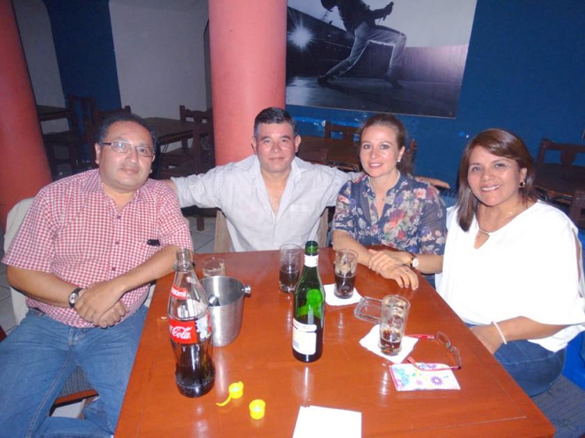 Rolando Loaiza,   Ricardo Gómez, Roxana de Gómez y Eliana Torres  de Loaiza.