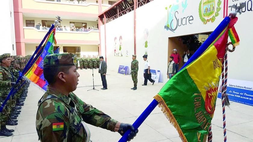 DISTRITO 3. El presidente Evo Morales en la flamante unidad educativa Tomás Katari.
